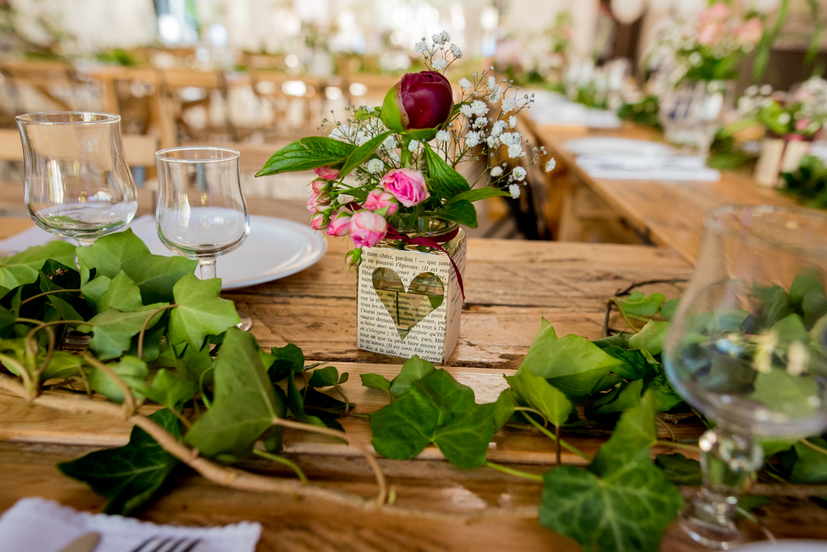 centre de table mariage champêtre arras